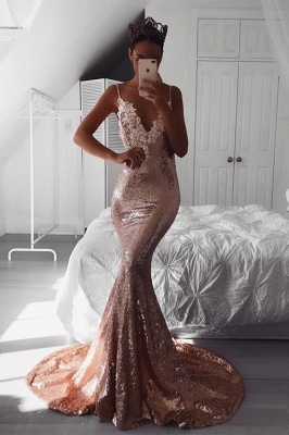 Sexy V-Neck Spaghetti-Straps Prom Dress UK | Sequins Mermaid Evening Gowns BA9810_2