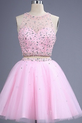 Hot Sale Pink two Pieces Short Prom Dress UK Beadings Tulle Homecoming Dress UK_1