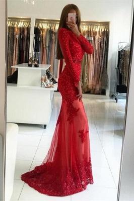 Elegant Red Long Sleeve Evening Dress UK | 2019 Appliques Long Prom Dress UK_2