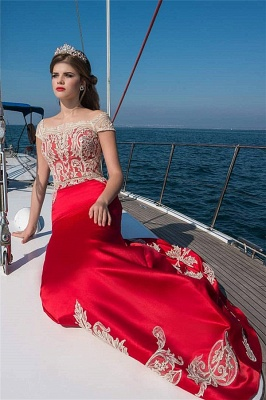 Cap Sleeve Appliques Prom Dresses Sexy Online | Red Long Evening Dresses UK_1