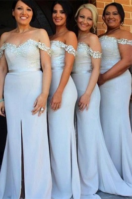 Sexy Off-the-Shoulder Mermaid Bridesmaid Dress UK Front Split Lace_2