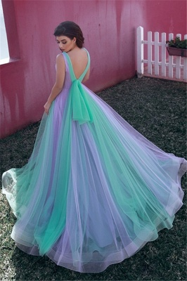 Sexy V-neck Colorful Tulle Evening Gowns UK | Sleeveless Cheap Open Back Formal Dresses_2