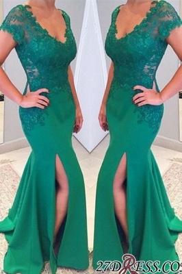 Sleeves Lace Mermaid Green V-neckline Applique Short Prom Dress UK_1