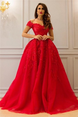 Tulle Lace Off The Shoulder Sexy Prom Dress UK| Cheap Sweetheart Red Evening Dress_1