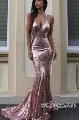 Mermaid Sequins V-Neck Luxury Prom Dress UK_1