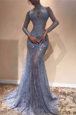 Luxury High-Neck Lace Evening Dress UK | Mermaid Long Sleeve Prom Dress UK_2