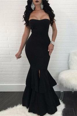 Elegant Black Mermaid Evening Dress UK | Ruffles Prom Dress UK With Slit_2