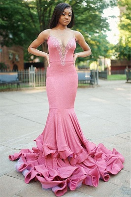 Sexy Mermaid Cheap Evening Gowns Online | Sleeveless Beading Long Prom Dress UK_1