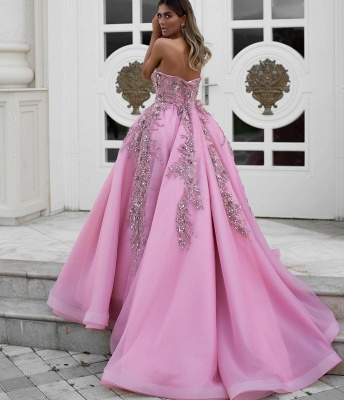 Gorgeous Strapless Formal Dresses Uk | Sweetheart Ruffles Appliques Long Evening Dress_2