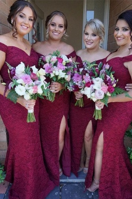 Luxury Off-the-Shoulder Bridesmaid Dress UK | 2019 Mermaid Lace Maid of Honor Dress UK_2