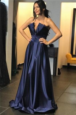 Chic Strapless Sexy Prom Dresses Online | V-Neck Ruffles Long Evening Dress UK_1