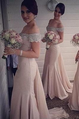 Elegant Off-the-shoulder Mermaid Bridesmaid Dress UK Beadings Sweep Train_2