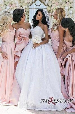 Luxury Pink Lace-Up Mermaid Bridesmaid Dress UK Long AH094_2