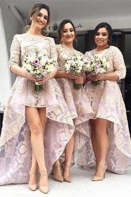 Luxury Half-Sleeve Lace Bridesmaid Dress UK Hi-Lo Dress UK_2