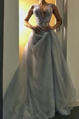 Gorgeous V-Neck Long Evening Dress UK   Sleeveless Prom Dress UK_2