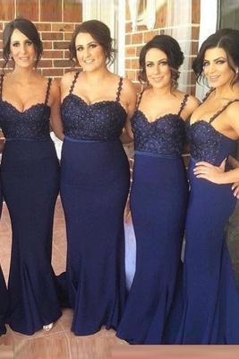 Luxury Navy Spaghetti Strap Bridesmaid Dress UK Lace Beadings Long Wedding Party Dress UK_2