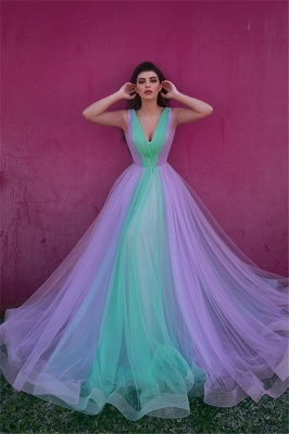 Sexy V-neck Colorful Tulle Evening Gowns UK | Sleeveless Cheap Open Back Formal Dresses_1