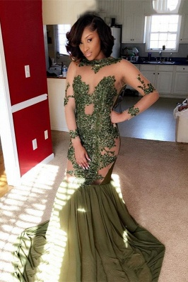 Long-Sleeve Lace Evening Gowns | Mermaid Prom Dress UK Online BA8827_2