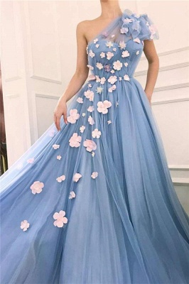 Chic Tulle One Shoulder Prom Dresses Sexy | Flowers Cheap Long Evening Dress UK_2