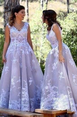 Sexy Straps Appliques V-Neck Sleeveless A-Line Bridesmaid Dress UK_2