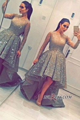 Luxurious Sequins Party Long-Sleeves Beadings Hi-Lo Homecoming Prom Dress UK BA3735_2