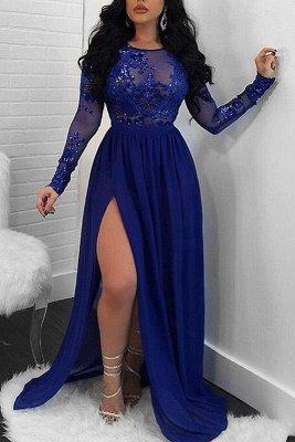 Modern Long Sleeve Lace Front Split Prom Dress UK   Royal Blue Prom Dress UK BA9080_2