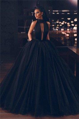 Sexy Keyhole High Neck Black Prom Dresses | Sleeveless Fluffy Tulle Evening Dresses UK_1