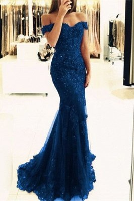 Off-the-Shoulder Prom Dress UK | Lace Appliques Evening Gowns_2