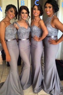 Different Styles Lace Appliques Mermaid Bridesmaid Dress UK_1