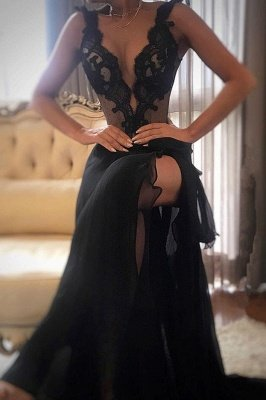 Elegant Black Prom Dress UK | Lace Evening Gowns With Slit_2