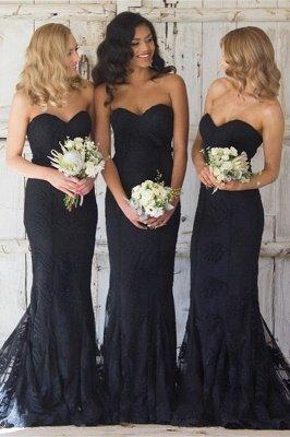 Sexy Black Sweetheart Mermaid Bridesmaid Dress UK Lace Wedding Reception Dress UK_2