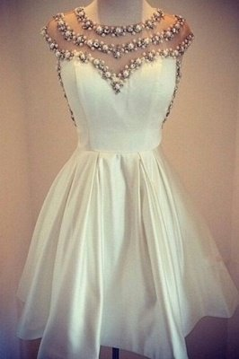 Lovely White Pearls Short Prom Dress UK Cap Sleeve Vintage Homecoming Dress UK_1