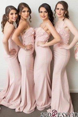 Pink Mermaid 3D-Floral-Appliques Spaghettis-Straps Bridesmaid Dress UKes UK_1