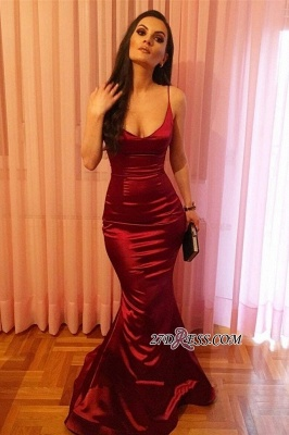 Elegant Spaghetti-Strap Prom Dress UK | Red Sleeveless Evening Party Dress UK_1