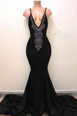 Newest Black Spaghetti Strap Sleeveless Prom Dress UK | Mermaid Prom Dress UK_2