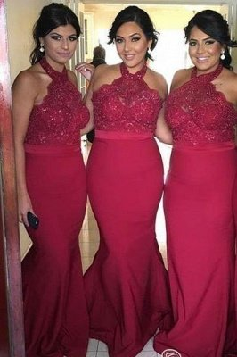 Sexy Mermaid Halter Beadings Lace Elegant Bridesmaid Dress UKes UK_1