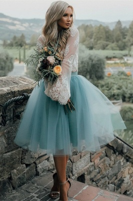 Long Sleeve Lace Short Prom Dress UK Tulle Party Gowns_2