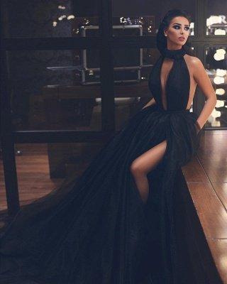 Sexy Keyhole High Neck Black Prom Dresses | Sleeveless Fluffy Tulle Evening Dresses UK_2