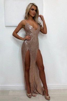 Elegant V-Neck Sequins Prom Dress UK   Long Evening Party Gowns With Split BA9873_2