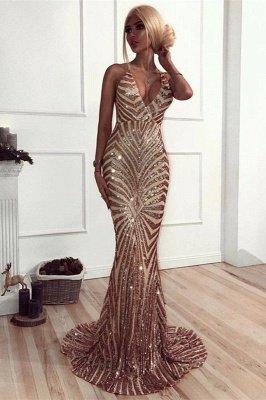 Elegant V-Neck Mermaid Prom Dress UK | Sequins Long Evening Dress UK_2