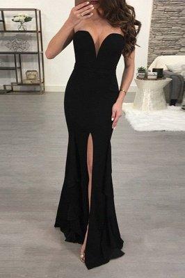Elegant Black Sweetheart Evening Dress UK | 2019 Mermaid Prom Dress UK With Slit_2