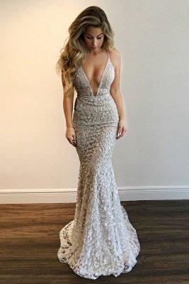 Luxury V-Neck Prom Dress UK   Lace Mermaid Evening Gowns BA9393_1