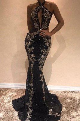 Gorgeous Halter Black Evening Dress UK | Mermaid Sequins Prom Dress UK With Appliques_2