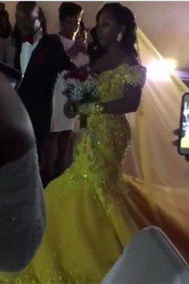 Off The Shoulder Yellow Sparkling Prom Dress UKes UK UK Elegant Mermaid Beads Sequins Evening Dress UK_1