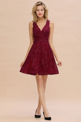 Knee Length Lace Appliques Homecoming Dresses | Burgundy Short Evening Dresses UK_17