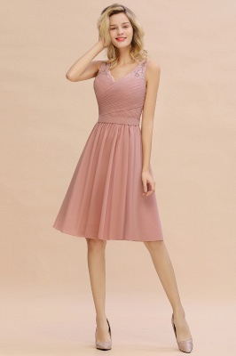 Lace Short Homecoming Dresses with Belt |  Sleeveless  Pink Cheap Party Dress UK_8