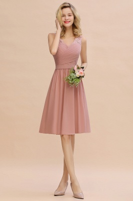 Lace Short Homecoming Dresses with Belt |  Sleeveless  Pink Cheap Party Dress UK_11
