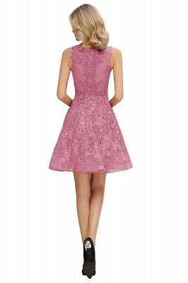 Knee Length Lace Appliques Homecoming Dresses | Burgundy Short Evening Dresses UK_14