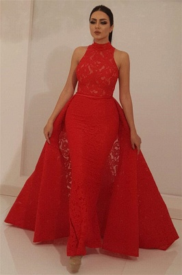 Cheap High Neck Sleeveless Red Lace Evening Dress UK | Mermaid Long Prom Dress with Detachable Skirt_1