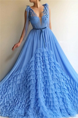 Tulle Deep V-Neck Blue Sexy Evening Dress UK | Cheap Sleeveless Layers Long Prom Dress with Sash_1
